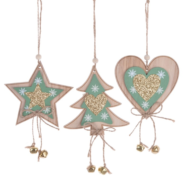 New Christmas wooden gilitter star tree heart wall hanging