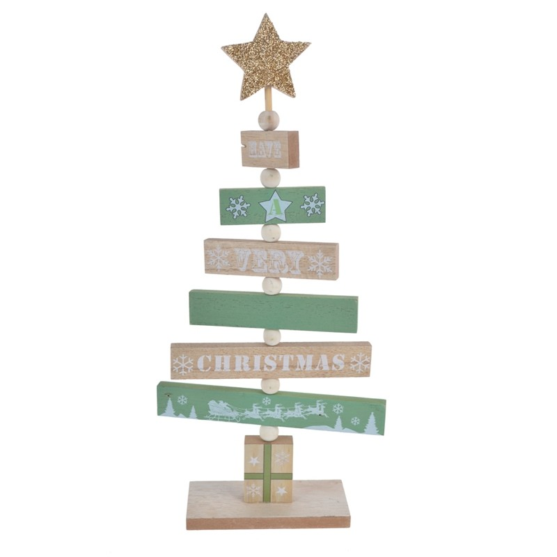 Words printing wooden christmas tree decoration