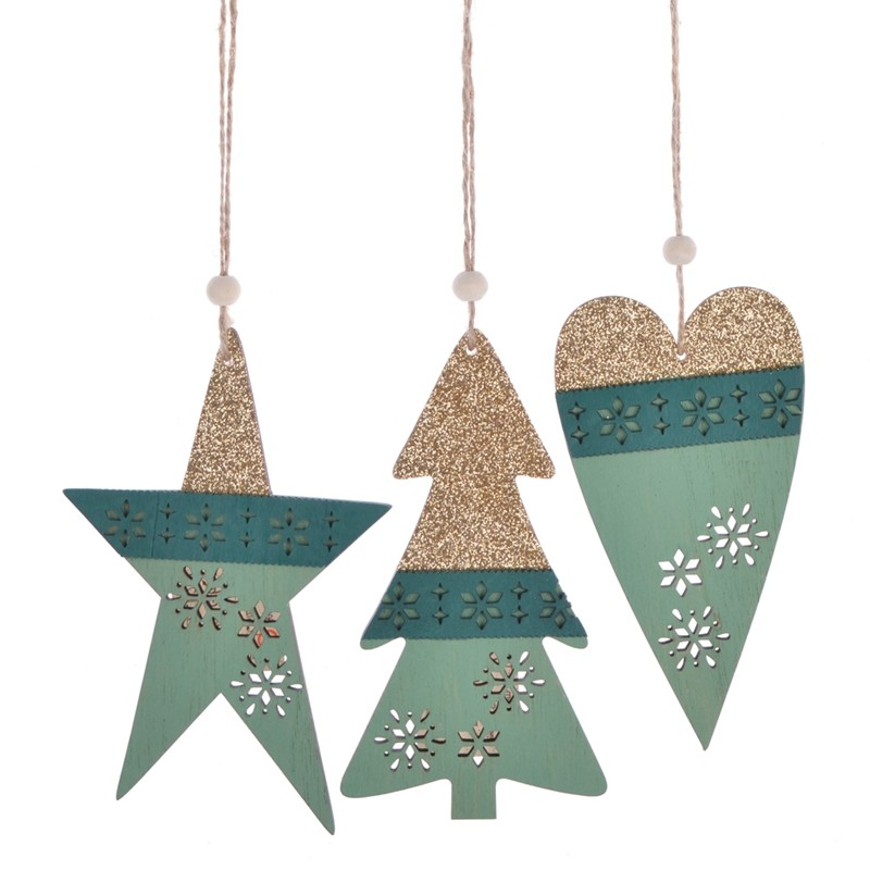 Laser cut wooden christmas tree pendent with gilitter