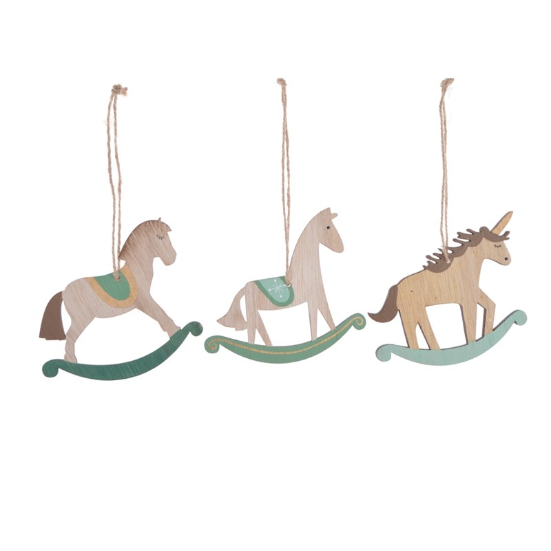 Color printing rustic wooden rocking horse christmas tree hanging