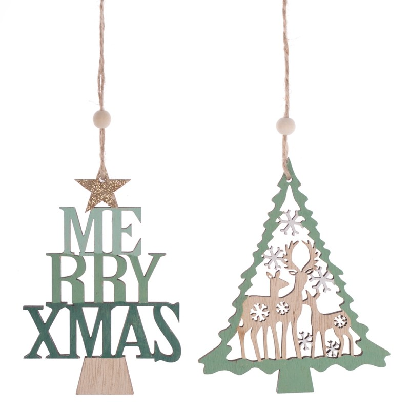 High quality wooden Merry christmas tree reindeer pendent xmas gifts