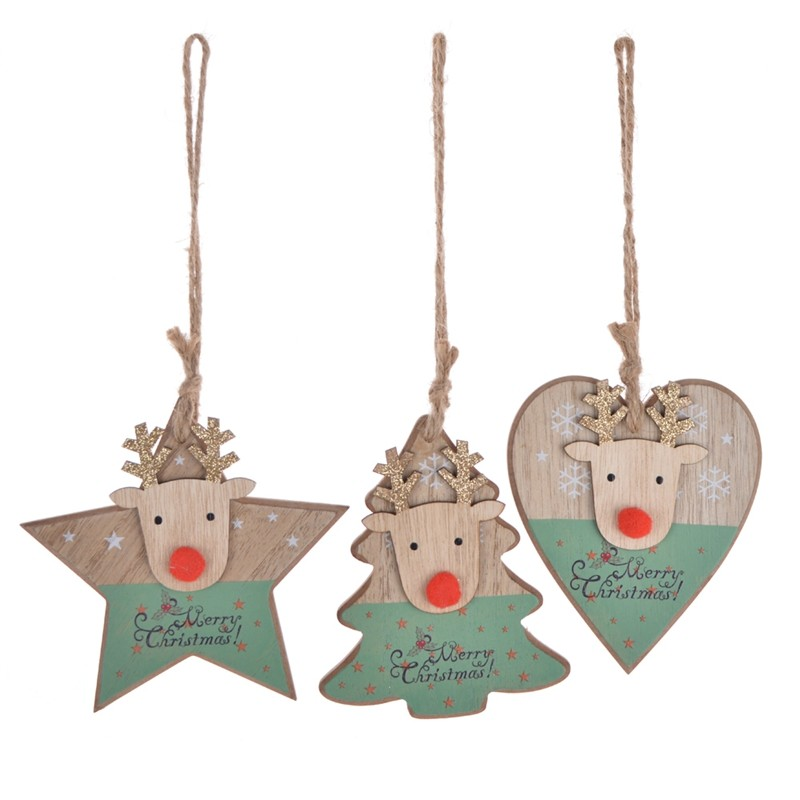 Lovely Merry christmas wooden star with reindeer