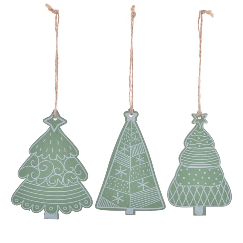 Color printing wooden christmas tree ornaments