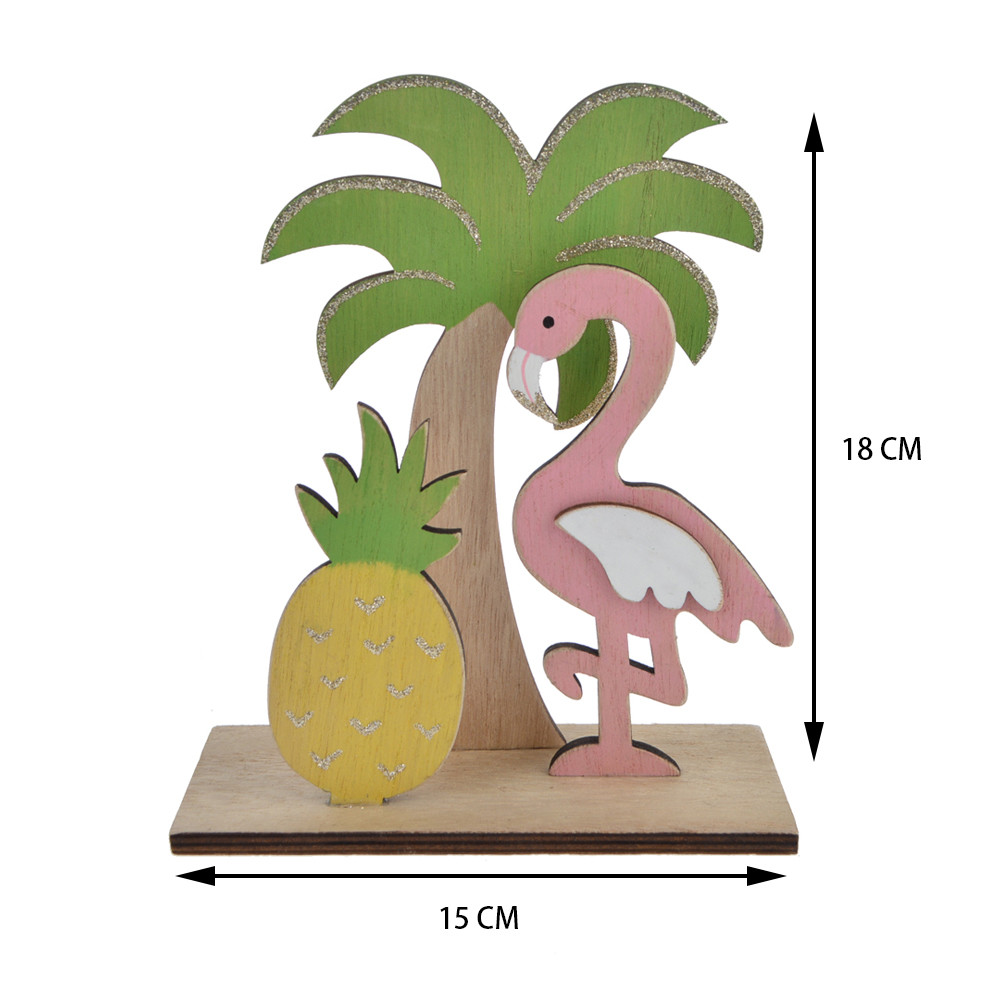 Summer gift wooden painted laster cutout plam /crane/pineapple pattern tabletop decoration