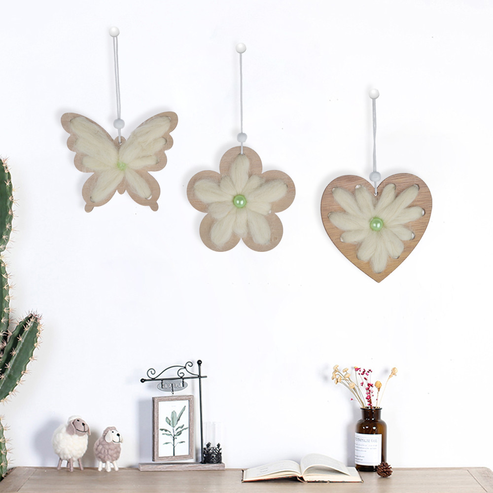 Spring  sence rustic wooden butterfly/flower/heart shape easter ornament craft pendant