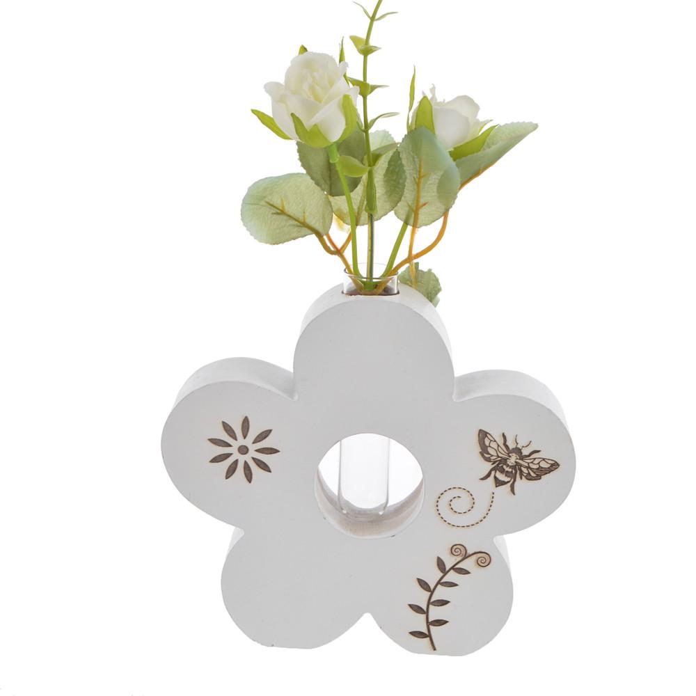 desktop decoration Wooden heart /butterfly/ flower shape standing Vase sitter spring gift