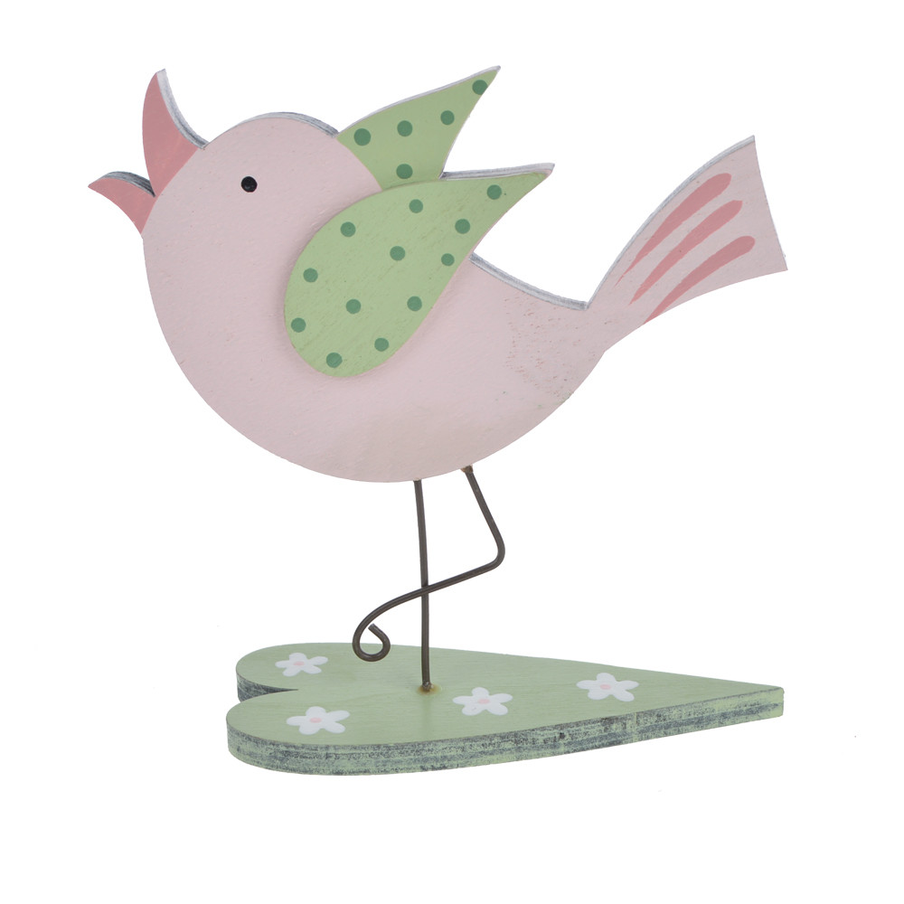 Wood material spring Easter decor bird standing on a heart in fashion design