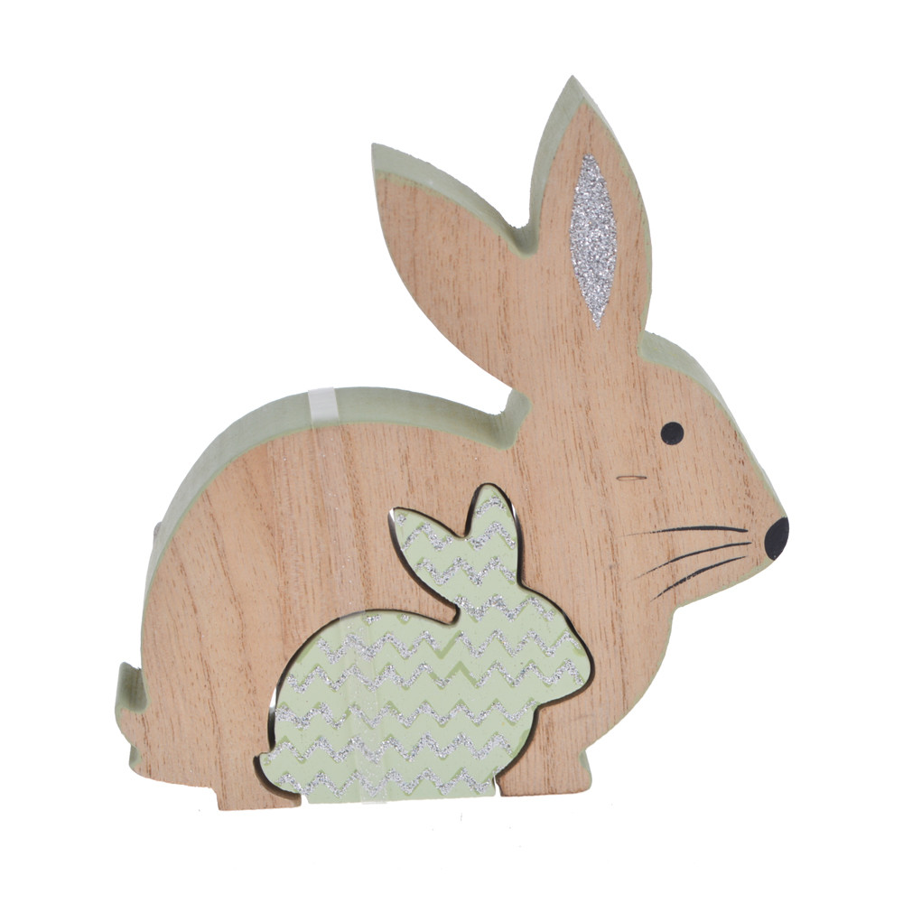 Easter spring decor wooden rabbit table top decoration
