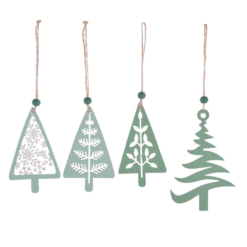 Laser cut gilitter wooden christmas tree pendent