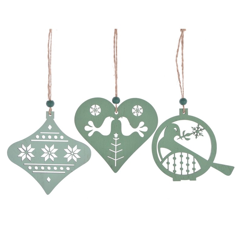 Customized design wooden christmas tree hanging ornament