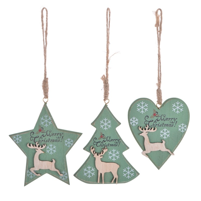 Promotional wooden christmas tree hanging with words printing