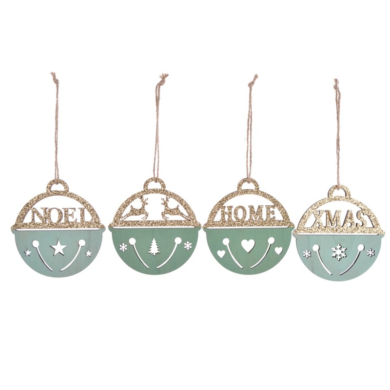 Laser cut wooden christmas tree pendent with bell design
