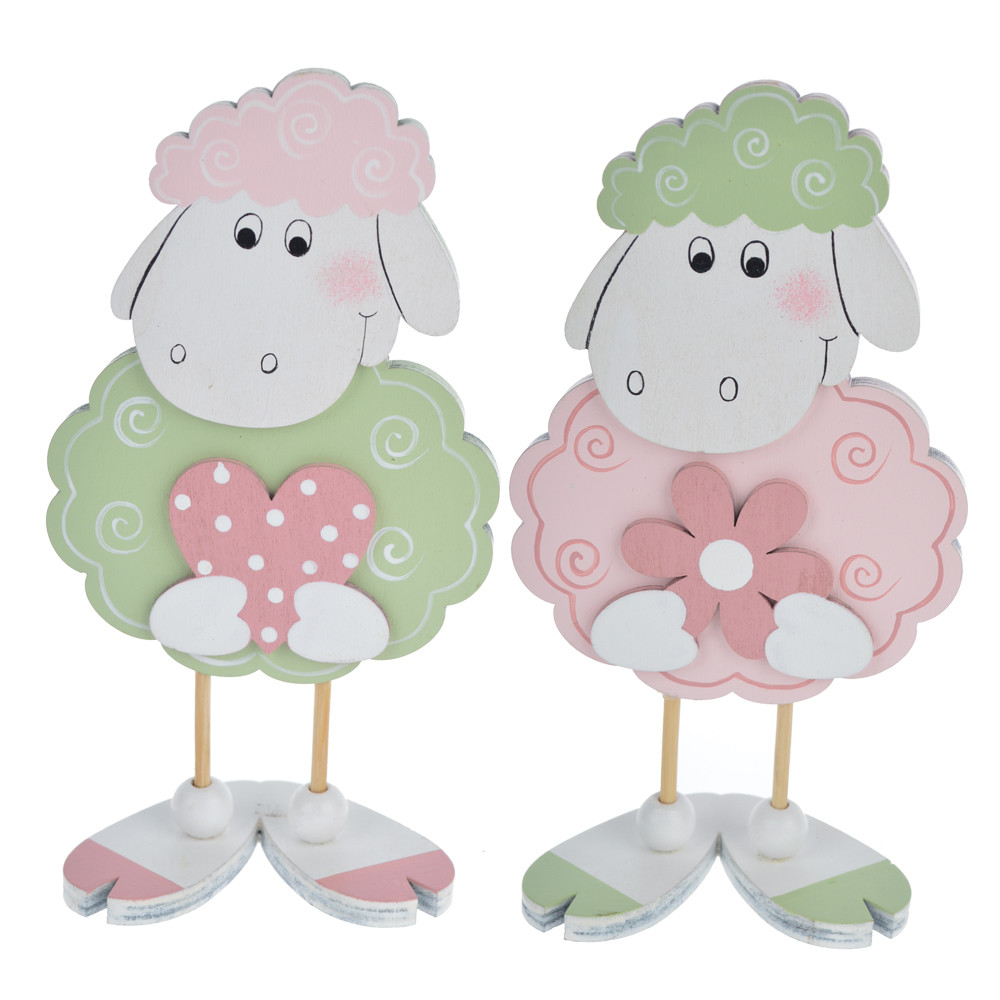 Cute wooden sheep holding flower heart Easter gifts for kinds