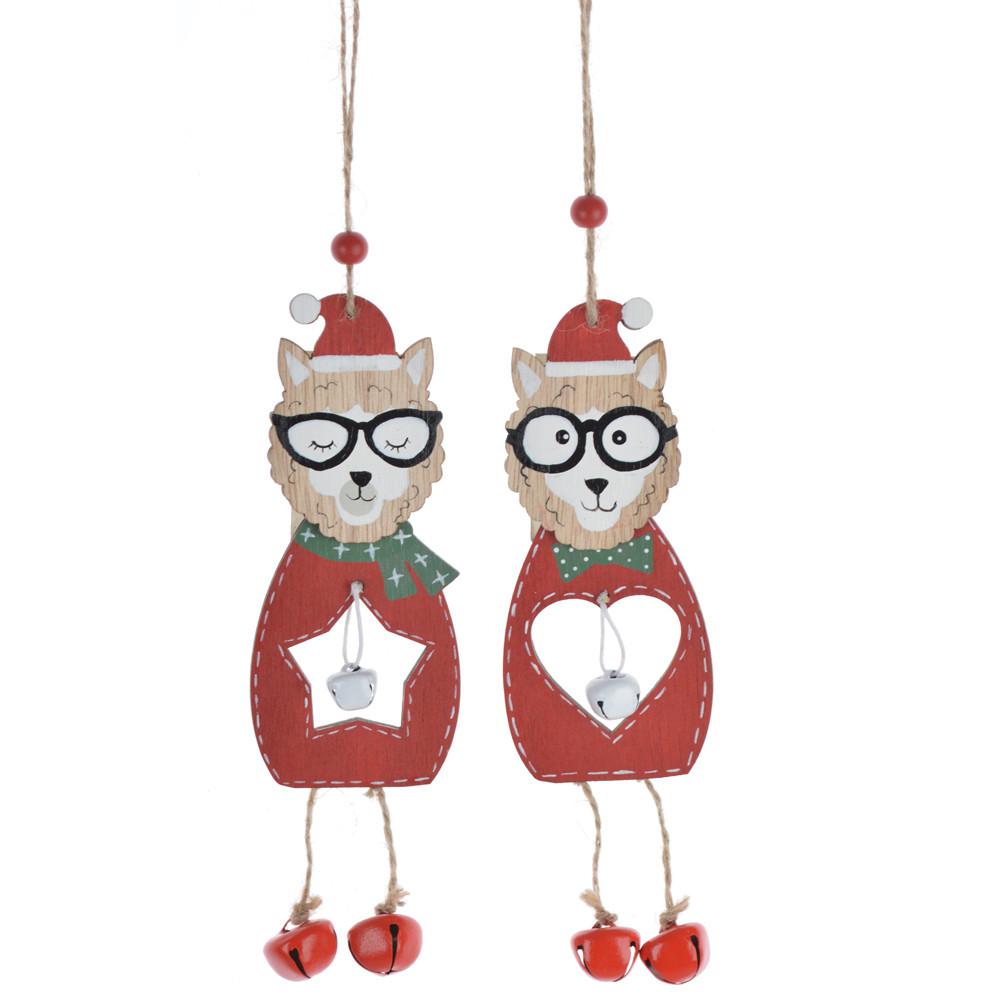 Hot winter Christmas wooden kitten bell pendants