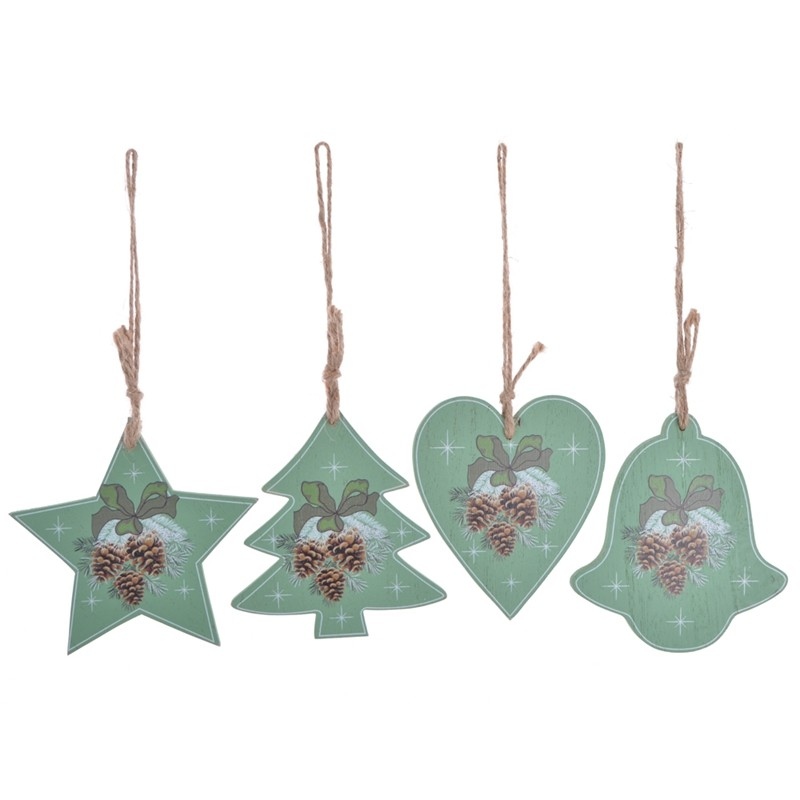 Color printing wooden christmas tree hanging ornaments