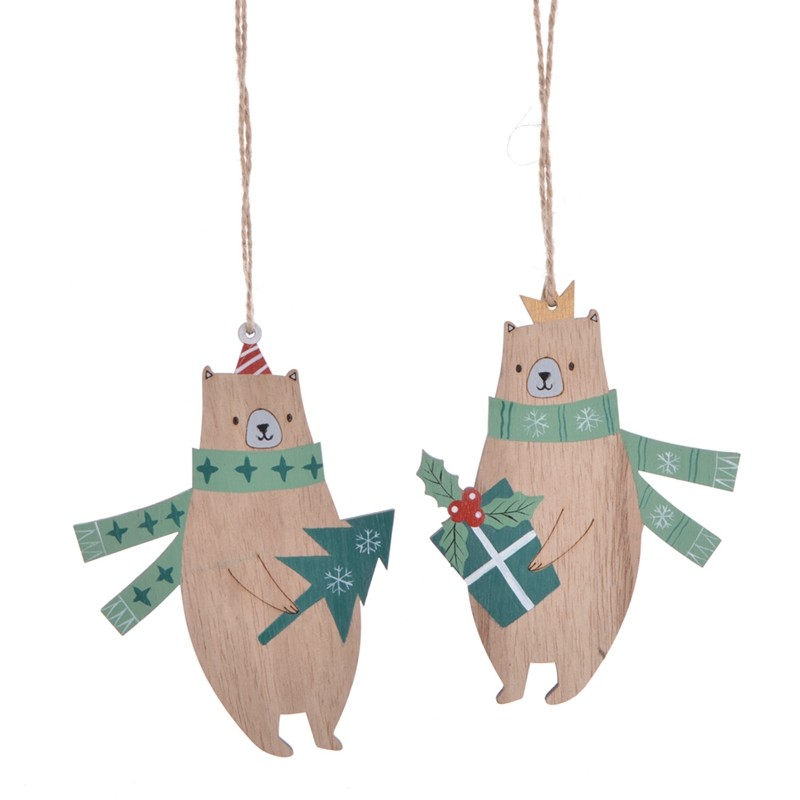 Laser cut wooden christmas bear hanging decor