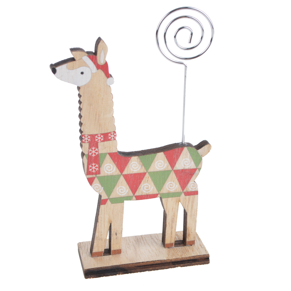 Wooden winter christmas lamb photo album note holder