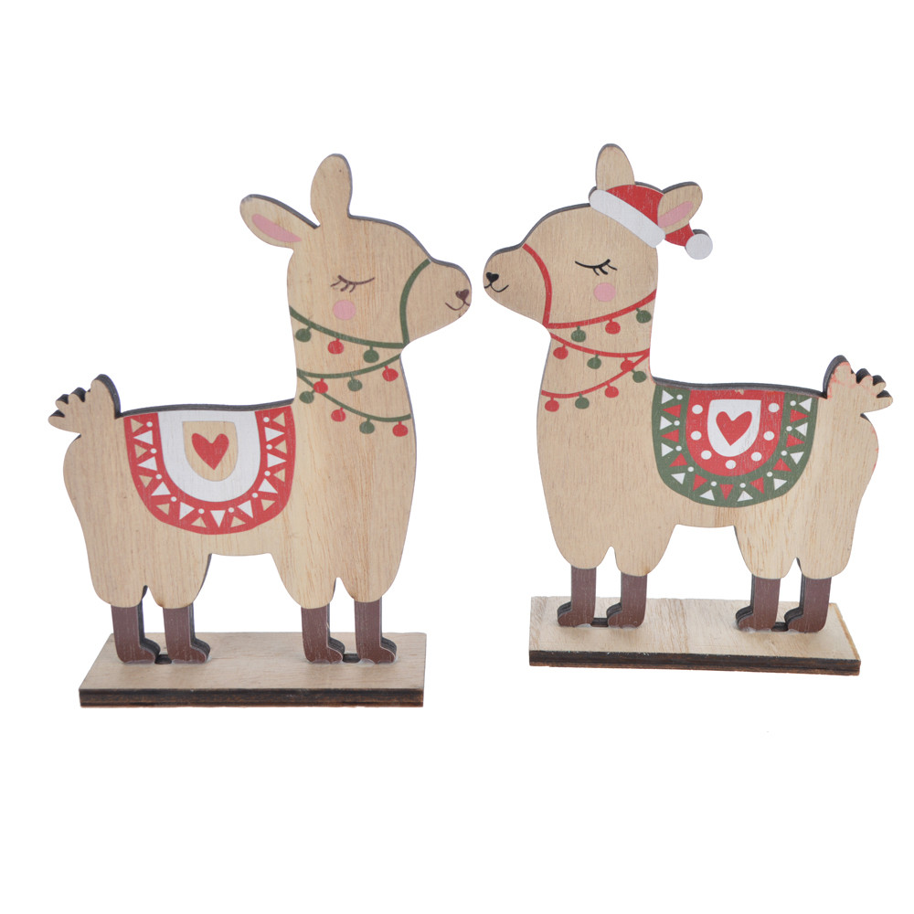 Wooden winter sheep wear scarf Christmas table decoration