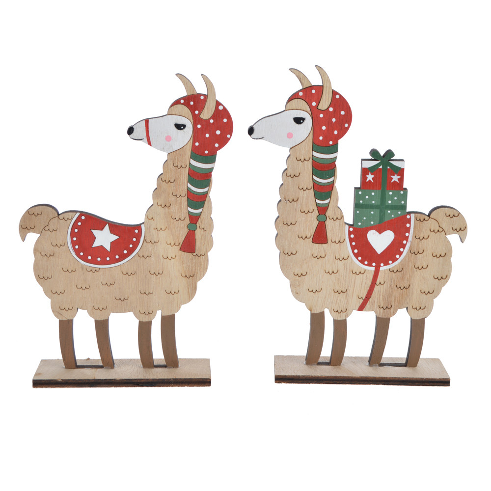 winter Christmas sheep with Christmas presents tabletop decoration