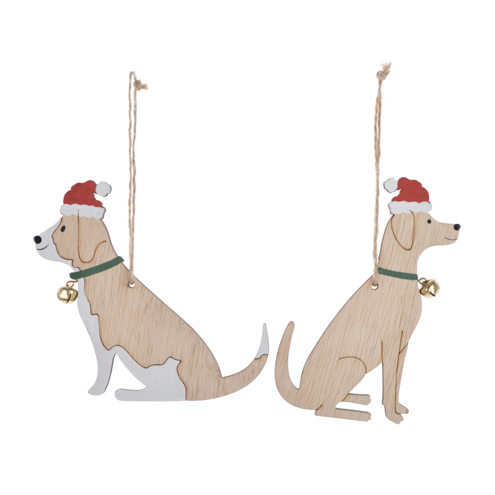 wooden winter dog wears a Christmas hat pendant