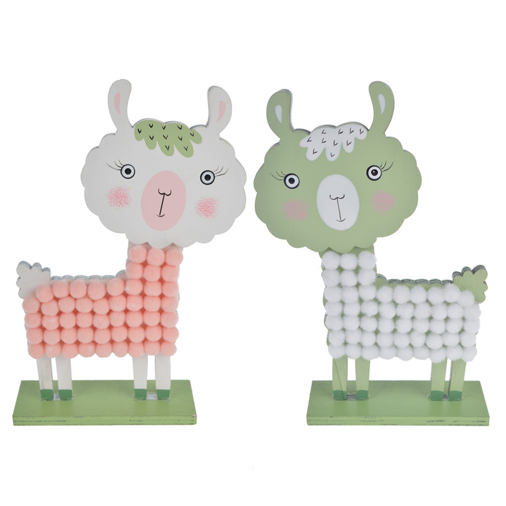 wooden material alpaca shape Easter decorating craft