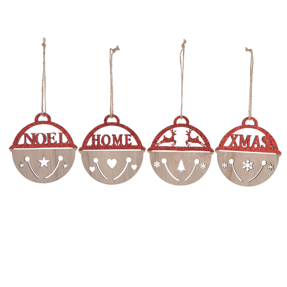 Laser cut wooden christmas ball hanging xmas tree decoration