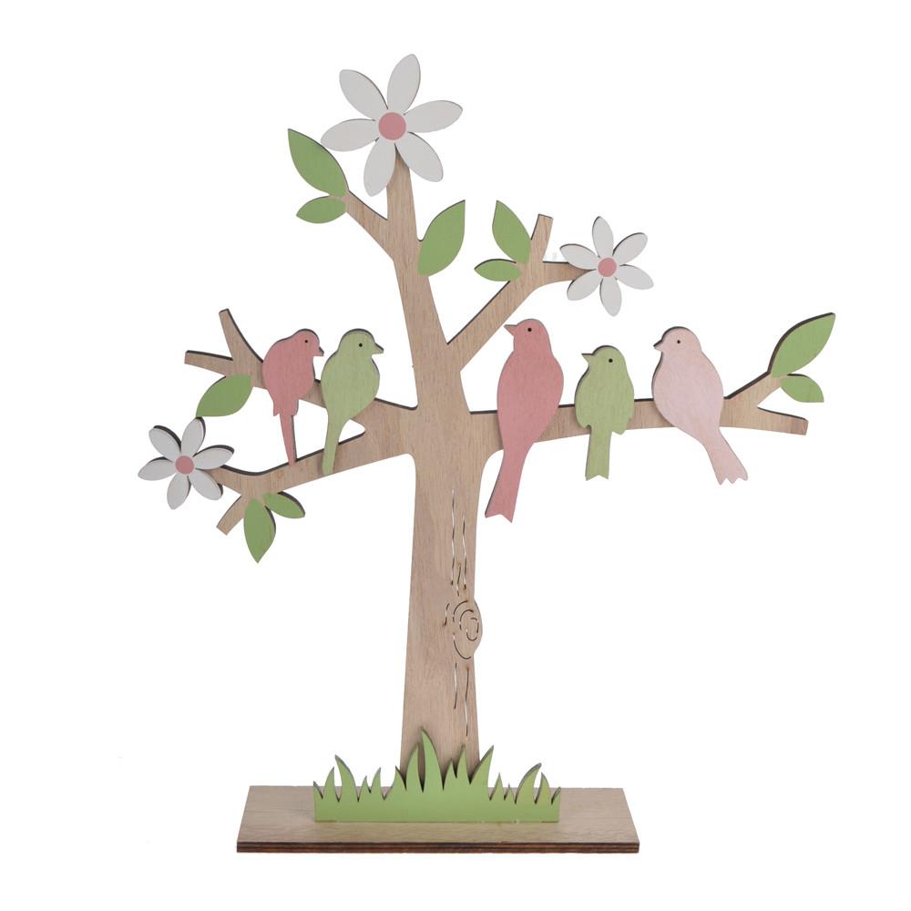 Spring full of life scene wooden tree birds gift handicraft home decor