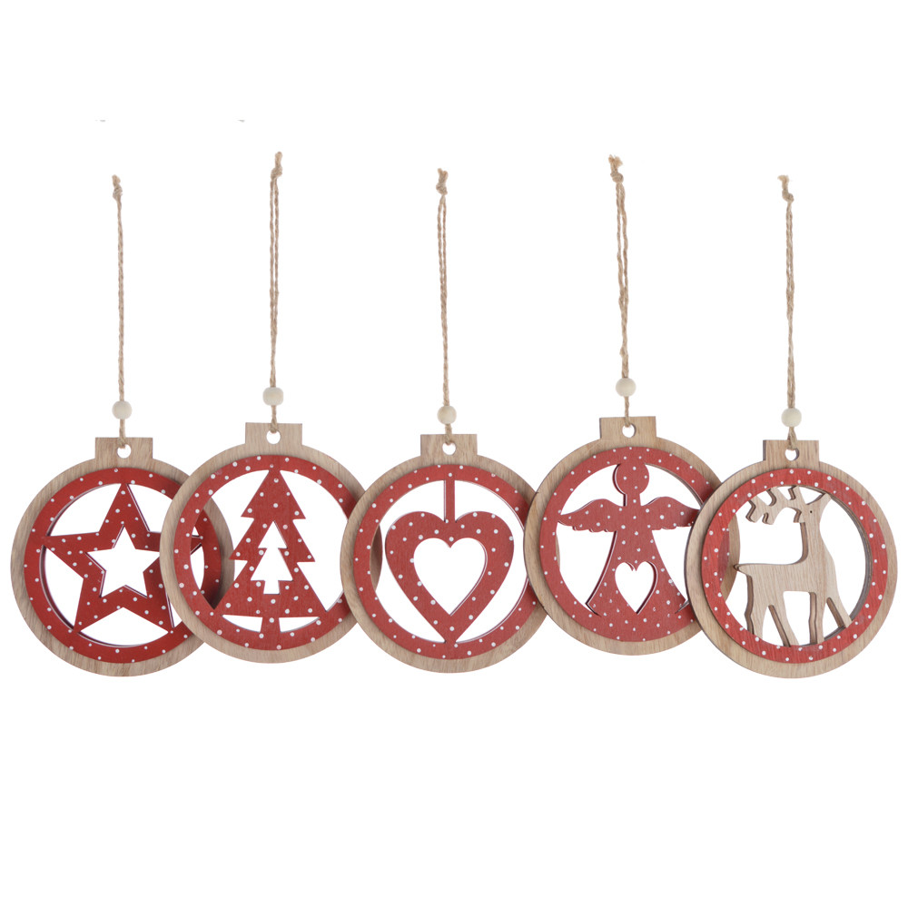 Wooden christmas round ball hanging  Holiday ornaments
