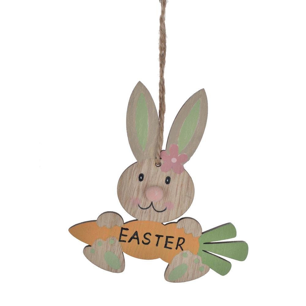 Wooden rabbit eating carrot Easter decor