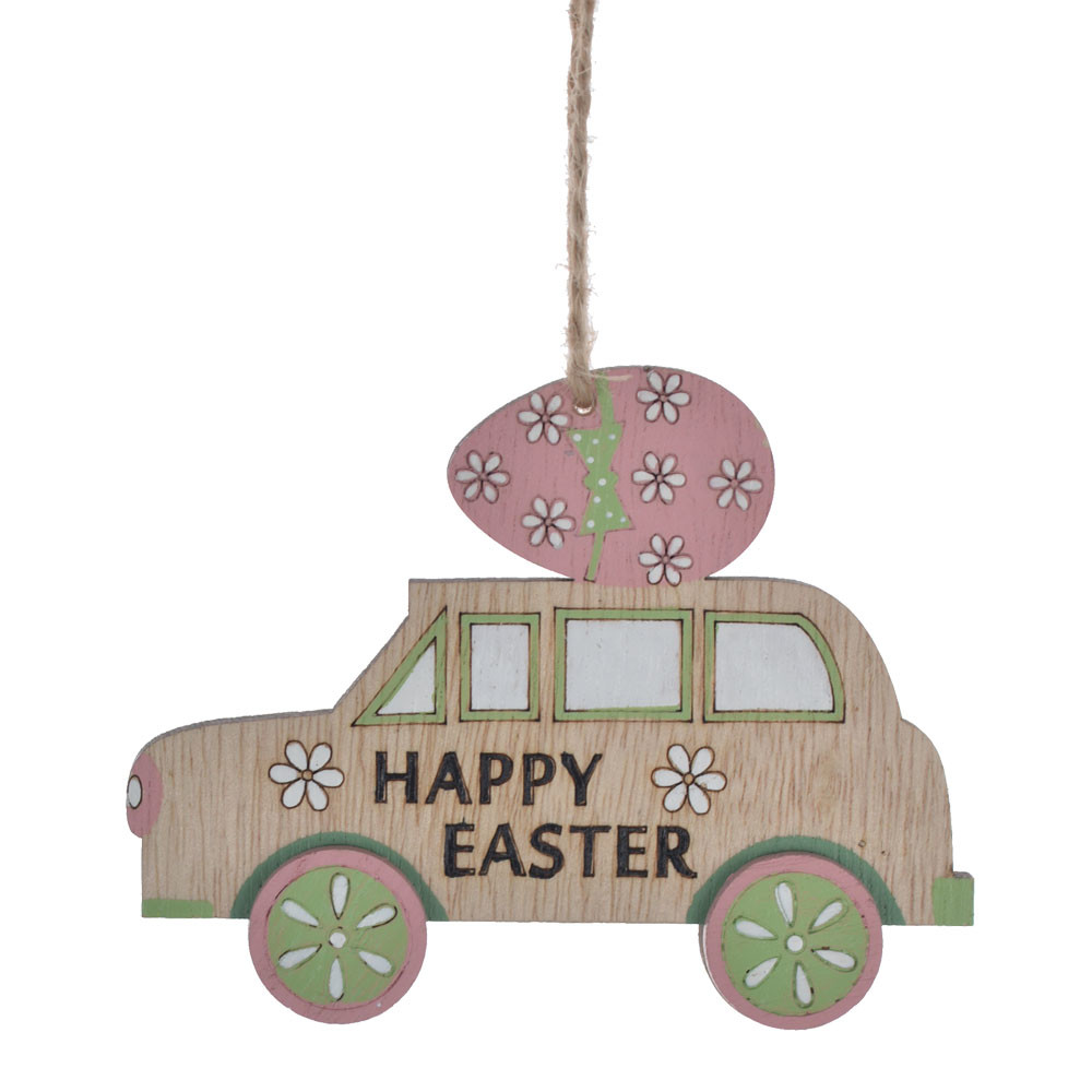 Happy Easter home spring decoration wooden car hanging ornament