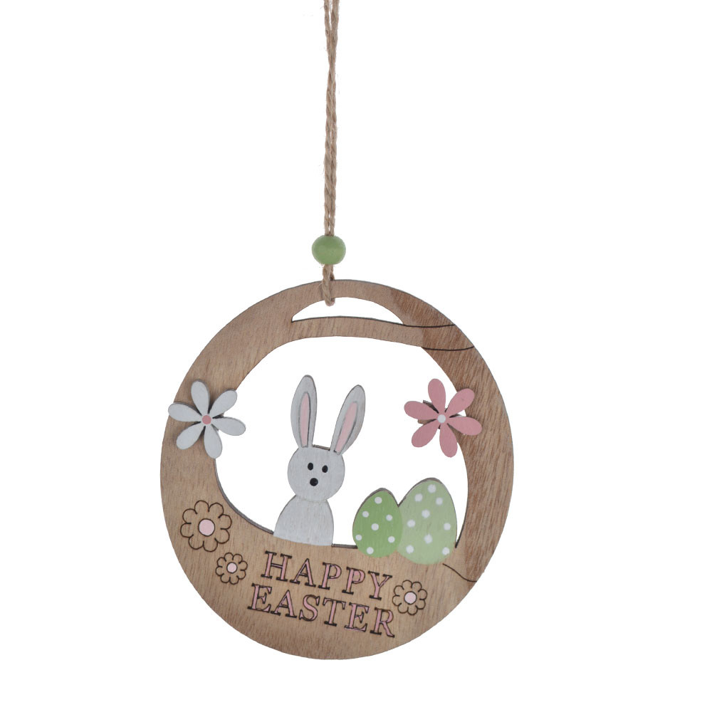 Easter decoration wooden ball hollow out rabbit eggs chicken ornament