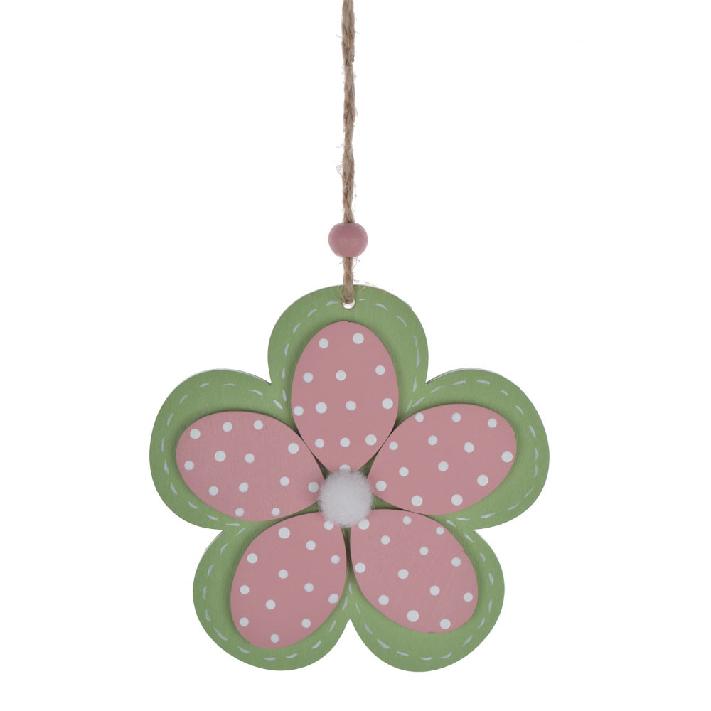 Wooden heart flower butterfly hanging ornament Easter spring art craft decoration