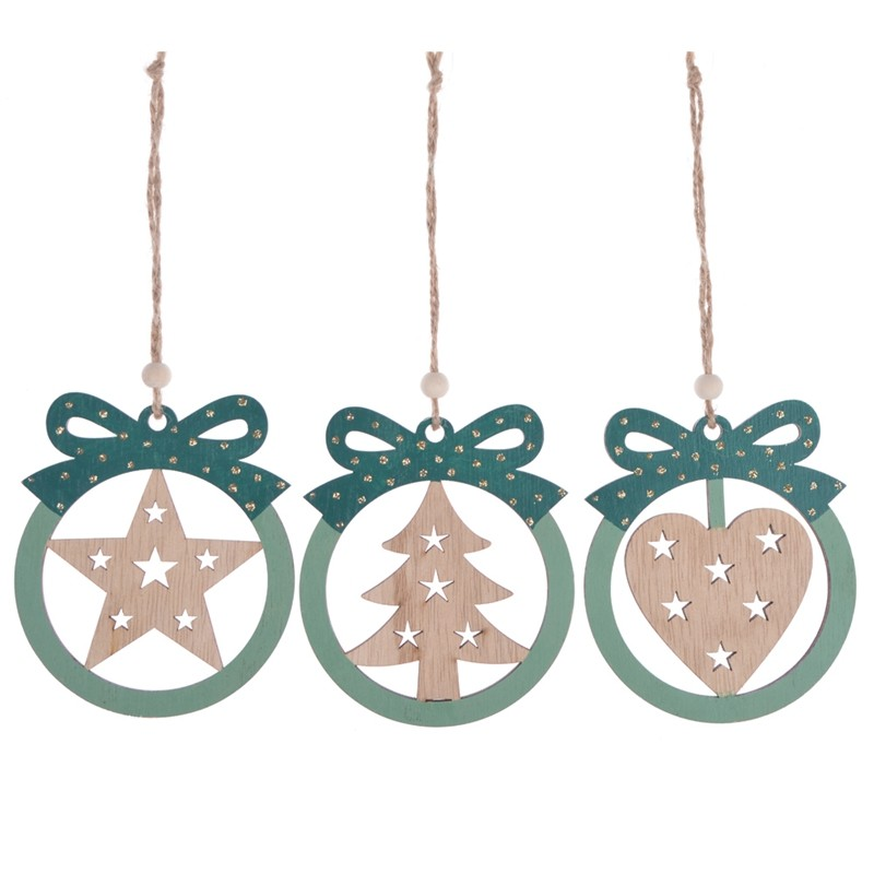 Promotional wooden christmas gift box pendent ornaments