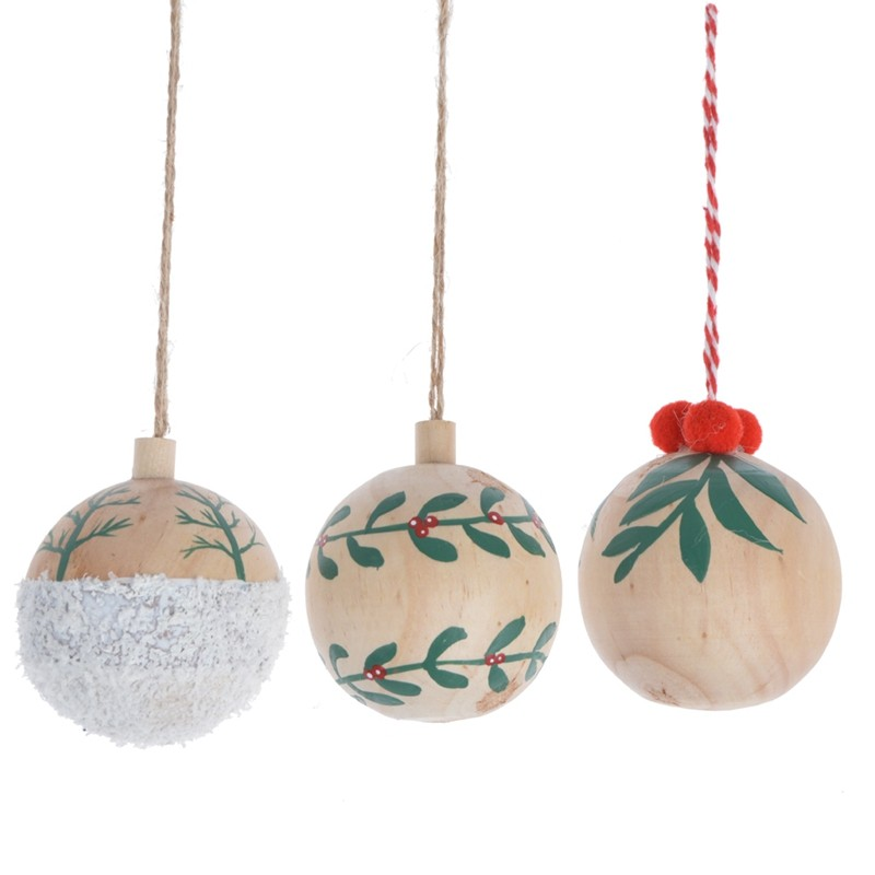 3D Wooden christmas round ball hanging with printing