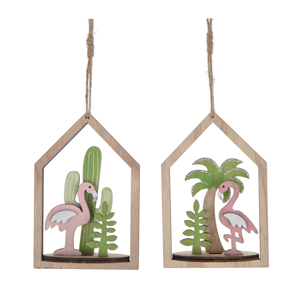 Summer gift wooden house hanger plam /crane  pattern inside festival ornament