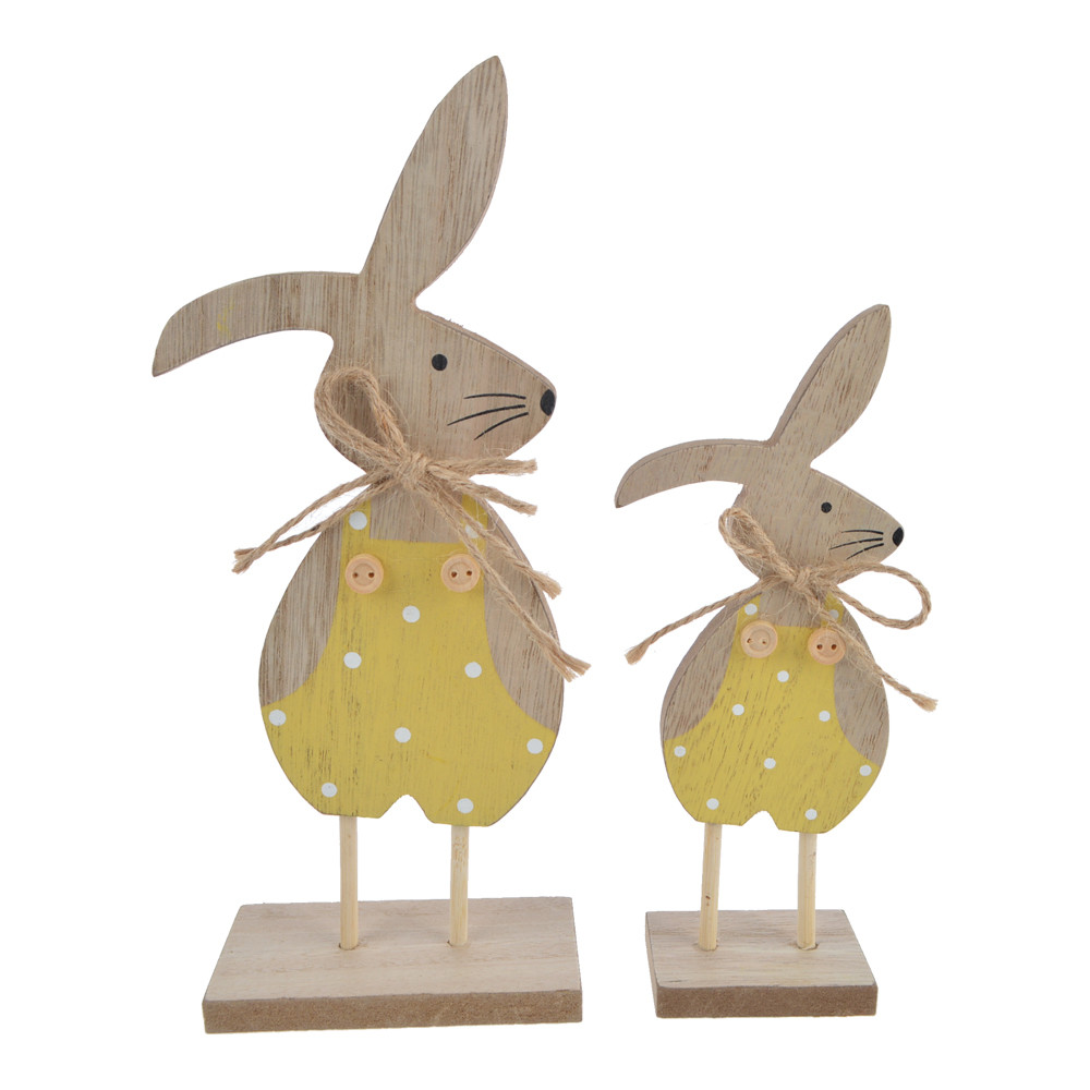 kids gift wooden cute bunny wearing suspenders easter decoration
