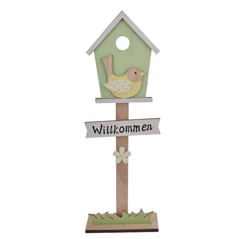 Spring scene wooden standing mailbox shape  decoration