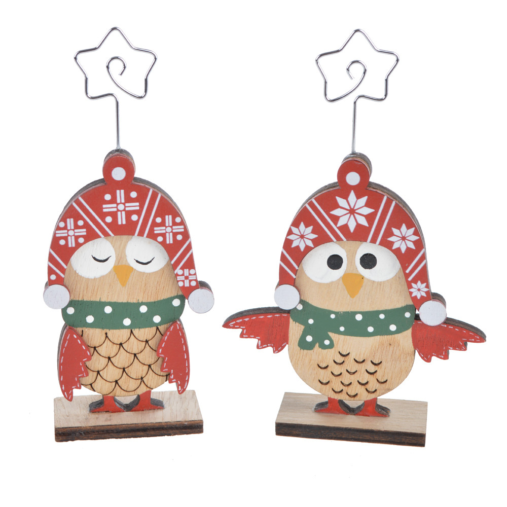 Christmas tabletop decoration red owl note holder ornaments