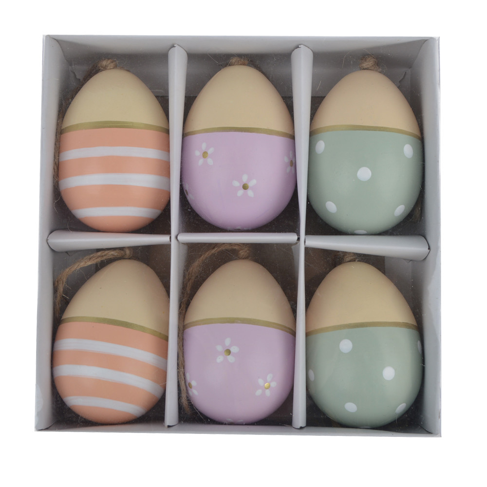 Easter Hanging Eggs Colorful Wooden Easter Eggs Hanging Ornaments