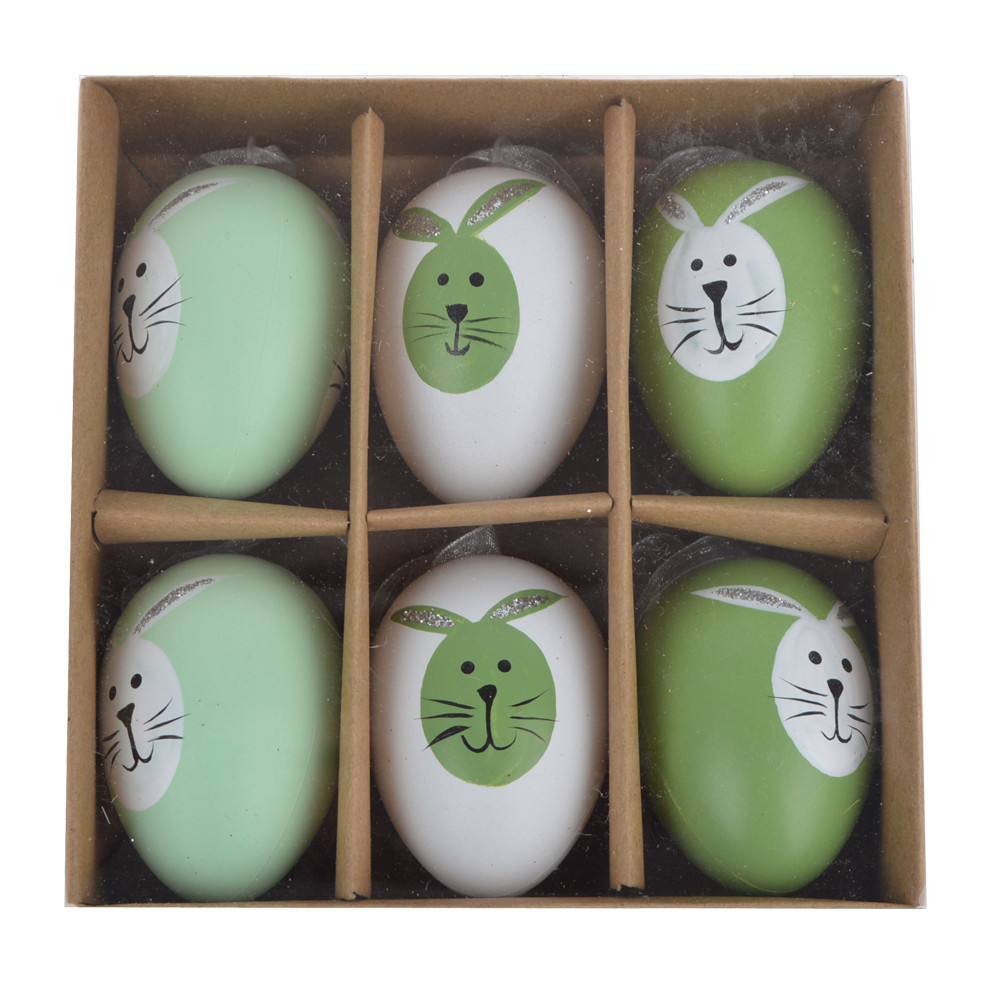 Hand Painted Bunny Easter Egg Ornaments
