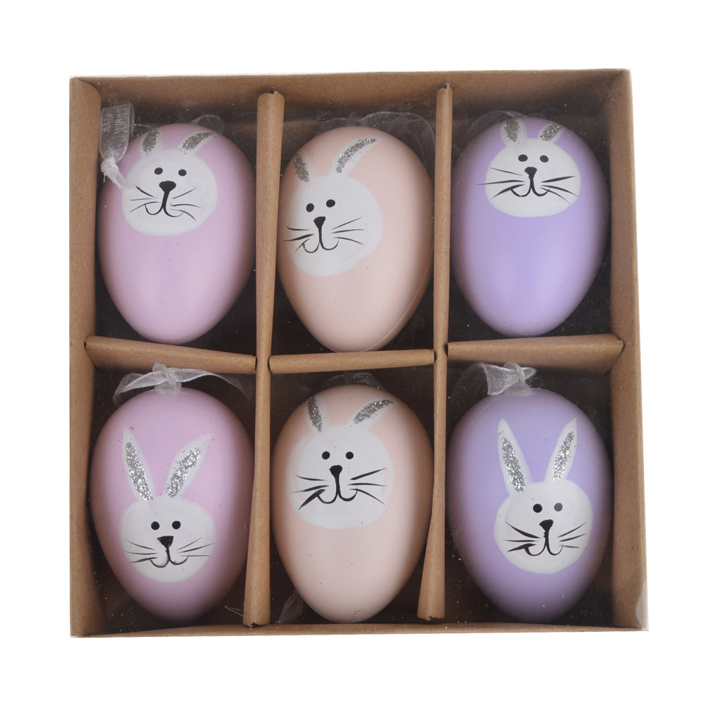 Easter Egg Ornaments Pastel Eggs with Panited Bunnies
