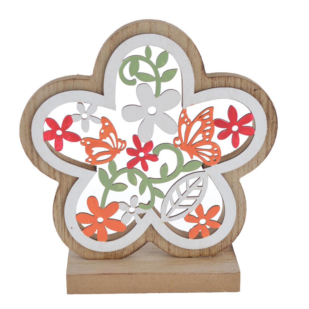 vintage colourful wooden flower shape desktop decoration
