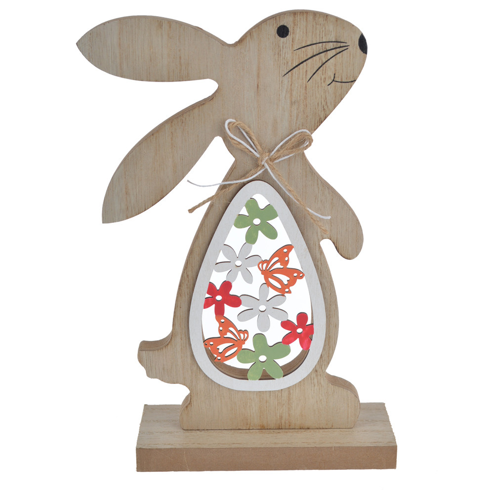 Easter wooden rabbit shape natural wood desktop decoration