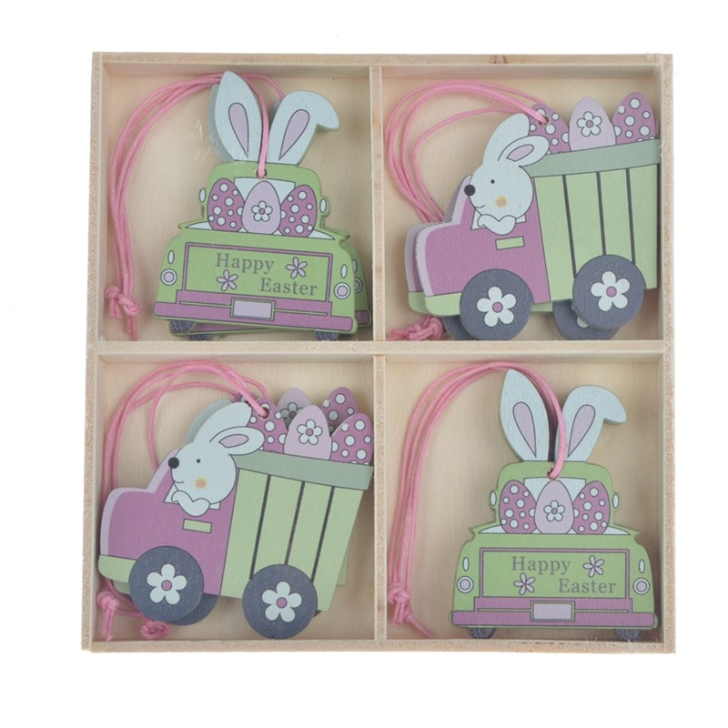 Set of 8pcs wooden easter rabbit hanging ornaments