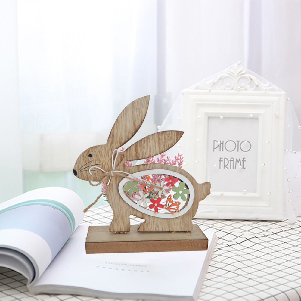 Easter standing natural wooden running bunny tabletop decpration