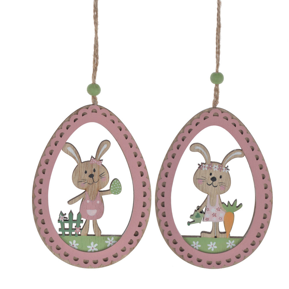 Easter decoration wall hanging pink wooden ball