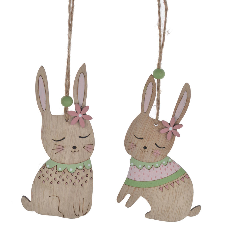 wooden Easter rabbit with flower on head wood ornament