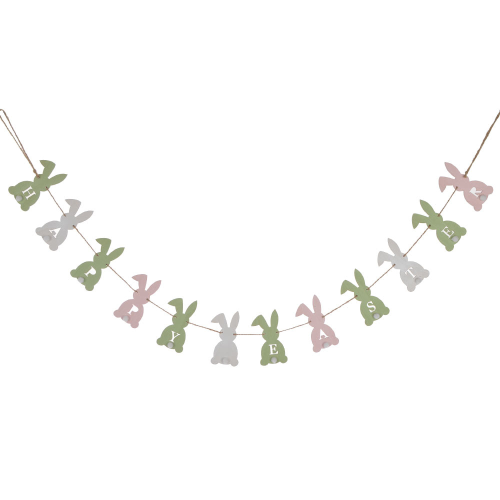 wooden hanging bunny bunting wooden banner rabbit garland