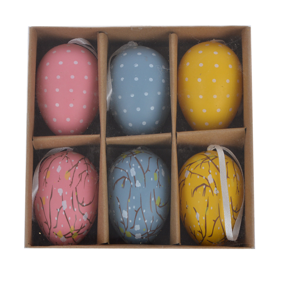 Colorful Plastic Surprise Eggs Plastic Easter Eggs hanging with string indoors wall hanging