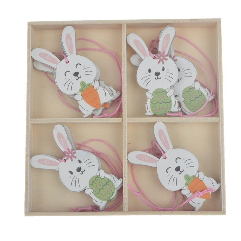 2020 New design wooden rabbit easter hanging